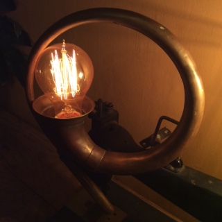 Vintage Brass Car Horn with Edison Bulb